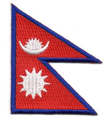 Nepal Flag Patch Patches Badge Iron On New Embroidered • 2.25£