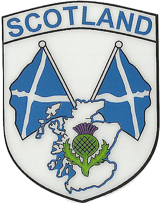Scotland Saltire Flags & Thistle Shield Shape Internal Car Window Sticker Decal • 5.35£