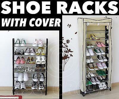 AU47.16 • Buy SHOE RACK Tower Storage WITH COVER Shoes Boots Adults Children 18 30 Or 50 Pairs