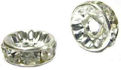 20pcs X Crystal Round Rhinestone Spacer Beads For Jewellery Making  - A20 • 3.49£