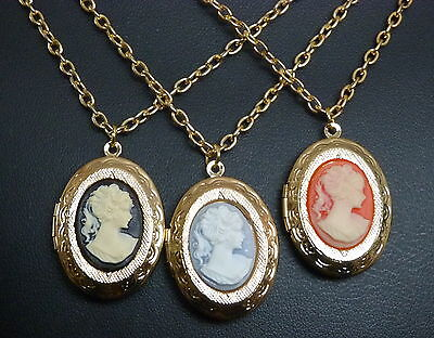 £5.99 • Buy Attractive Cameo Pendant Necklace With Locket And 20  Gold Plated Chain