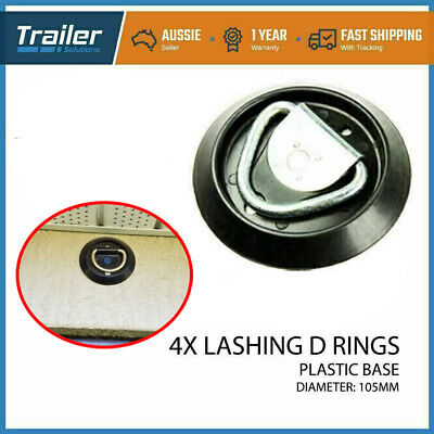 AU24.92 • Buy 4 X Lashing D Ring Round Plastic Base Tie Down Points Rings Anchor Ute Trailer
