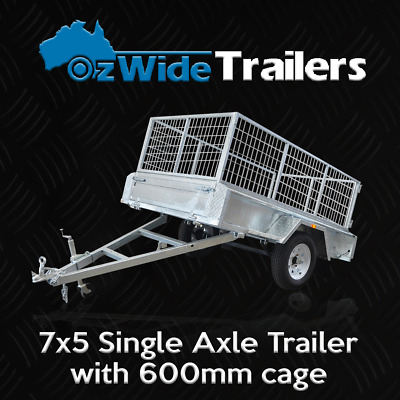 AU1849 • Buy 7 X 5 BOX TRAILER BRAND NEW GALVANISED WITH CAGE + TIPPER - FULLY WELDED
