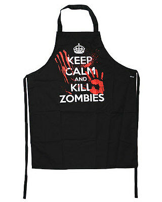 £17.50 • Buy Darkside Clothing Keep Calm And Kill Zombies Gothic Horror Black Kitchen Apron