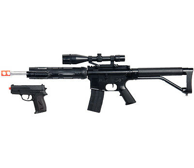 $54.95 • Buy AIRSOFT RIFLE & PISTOL COMBO M4 A1 M16 TACTICAL SPRING GUN W/ LASER SCOPE BB BBs
