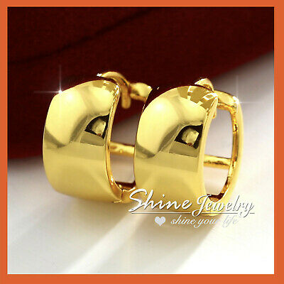 AU11.97 • Buy 9k 9ct Plain Gold Gf Mens Womens Girls Solid Huggies Hoop Sleeper Earrings Gift