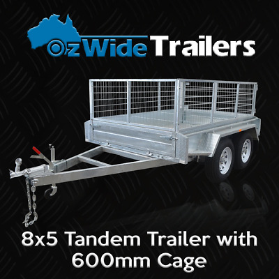 AU3099 • Buy 8 X 5 TANDEM BOX TRAILER BRAND NEW GALVANISED WITH CAGE  - FULLY WELDED