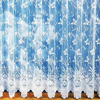 £4.75 • Buy White Lace Effect Butterfly Net Curtains,assorted Drops,sold By The Metre.