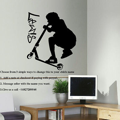 £19.49 • Buy Extra Large Personalised Stunt Trick Scooter Child Bedroom Wall Sticker Decal