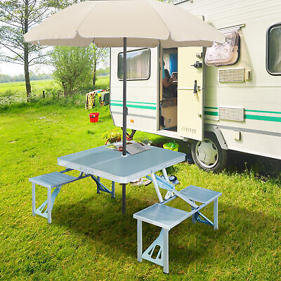 Aluminum Folding Portable Camping Picnic Table Stool Chair Set W/ Umbrella Hole • 46.99£