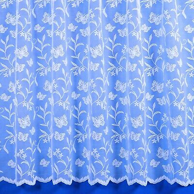 £3.20 • Buy Meadow Butterfly Scalloped Net Curtain In White - Slot Top - Sold By The Metre