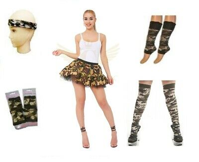 Ladies Camouflage Army Soldier Fancy Dress Military Costume Outfit Hen Party Do • 14.95£
