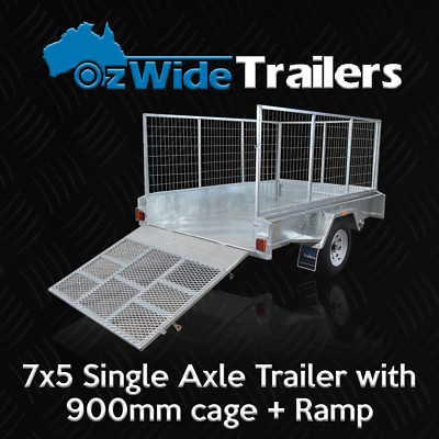 AU2149 • Buy 7 X 5 BOX TRAILER BRAND NEW GALVANISED WITH 900MM CAGE + RAMP - FULLY WELDED