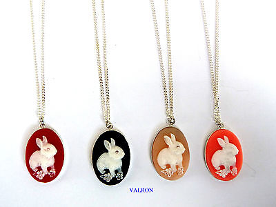 £4.99 • Buy Cute Rabbit Cameo Silver Plated Pendant With 16  Or 18  Necklace Ideal Children