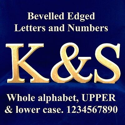Freestanding Bevelled Wooden Letters 150 Mm High 18 Mm Thick - Unpainted MDF • 9.57£