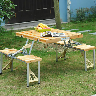 Portable Folding Camping Picnic Table 4 Chair Set Outdoor Garden BBQ Wooden Wood • 49.99£