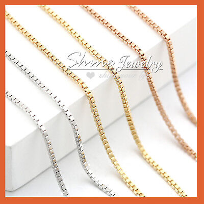 AU10.97 • Buy 18K PLAIN GOLD FILLED MEN LADIES SOLID BOX CHAIN NECKLACE For CHARM PENDANT 45CM