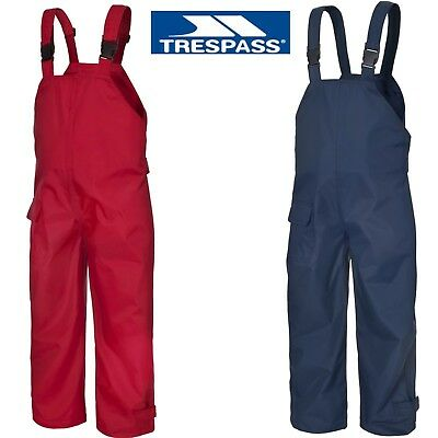 TRESPASS KIDS WATERPROOF DUNGAREES RAIN OVER TROUSERS BOYS OR GIRLS 12m To12yrs • 16.99£
