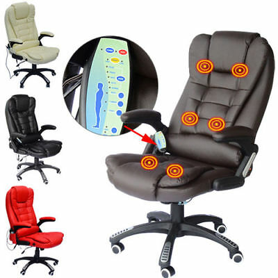 £99.99 • Buy Office Computer Chair Massage Heat Leather Recline Wheels Swivel Remote Control