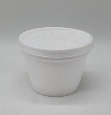 300 X 4oz POLYSTYRENE FOAM POTS TUBS CUPS FOOD DRINK CONTAINERS + 300 LIDS • 17.99£