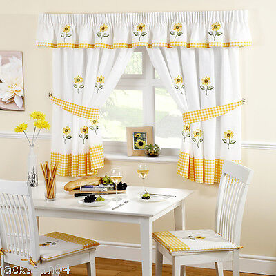 £22.49 • Buy Sunflower Yellow Embroidered Gingham Kitchen Curtains 46  X 42
