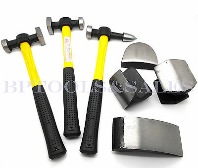 View Details 7 Pc Auto Body Fiberglass Fender Repair Tool Hammer Dolly Dent Bender Auto Kit • 24.99$