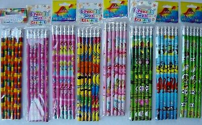 £0.99 • Buy Childrens Characters Pencils, With Eraser, Party Bag, Wedding, 9 Themes (pack 6)