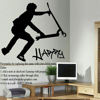 £17.49 • Buy Extra Large Wall Sticker Personalised Stunt Scooter New Finger Whip Uk Poster