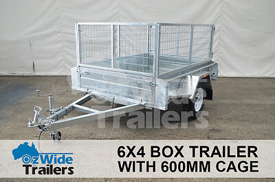 AU1725 • Buy 6 X 4 BOX TRAILER BRAND NEW GALVANISED WITH CAGE + TIPPER - FULLY WELDED