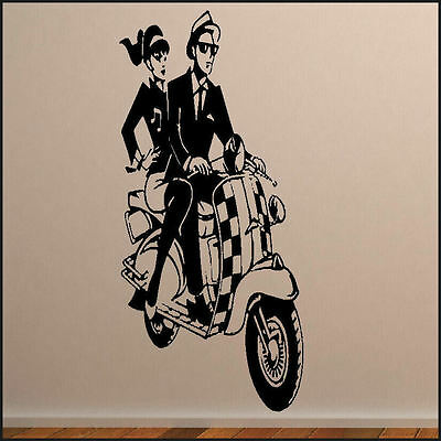 £8.49 • Buy Large Wall Sticker Ska Scooter  Mural  Art Decal New Vinyl Transfer From Uk