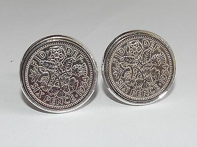 Mens 65th Birthday Gift / Present / Anniversary 1955 Sixpence Coin Cufflinks New • 14.99£