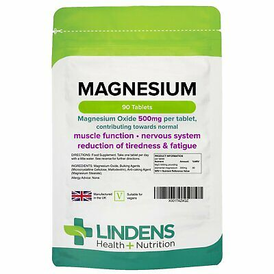 £5.35 • Buy Magnesium (MgO 500mg) X 90 Tablets; Muscle Function, Fatigue; Lindens