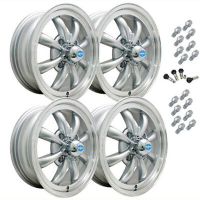AU691.46 • Buy BUG GHIA EMPI GT-8 WHEEL SET OF 4 WITH LUGS 5.5 X 15 SILVER POL/LIP 4x130