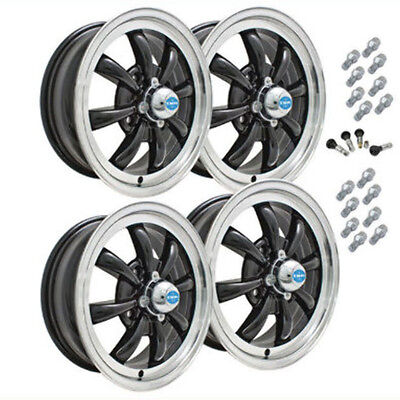 AU632.11 • Buy Bug Ghia Empi Gt-8 Wheel Set 4 With Lugs 5.5 X 15 Gloss Black Pol/lip 4-130