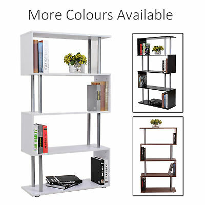 Wooden Wood S Shape Storage Display Unit Bookcase Bookshelf Room Divider 3 Color • 42.99£