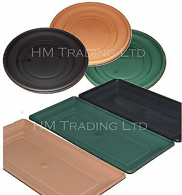 £5.66 • Buy UK Made Plastic Garden Window Box Plant Pot Water Saucer Base Tray In/Out Door
