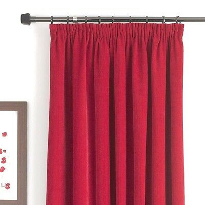 """£24.99 • Buy  B&q Red  Wine Claret Chenille Fully Lined Curtains, Madison Red 66"""" X 54"""" #236"""