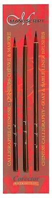 Chinese Calligraphy Brush Painting Assd Goat & Sable Liner Brush Set - MCR8126A • 10.99£