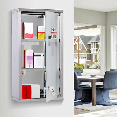 Wall Mounted Lockable Medicine Cabinet First Aid Box 3 Shelves • 21.99£