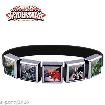 $6.50 • Buy ULTIMATE SPIDER-MAN ROXO Medium SILICONE BRACELET (5 Charm) ~ Party Supplies