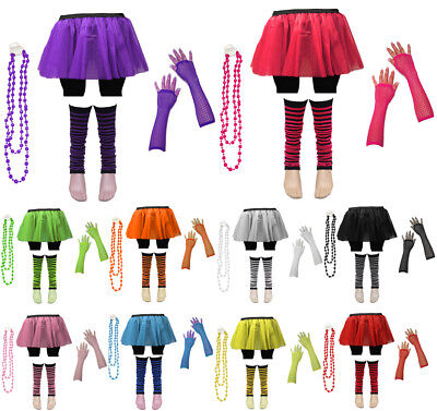 AU8.07 • Buy 80's Neon UV Tutu Skirt Leg Warmers Beads Dance Hen Fancy Dress Party Costumes