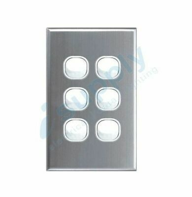 AU17.49 • Buy DEXTON 6 Gang Light Wall Switch Stainless Steel Silver Cover DXWS6/ASC