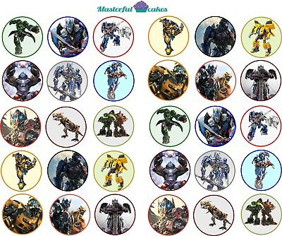 30 X Transformers Edible Cupcake Toppers Rice Paper,Icing & Pre-cut Wafer   • 3.30£