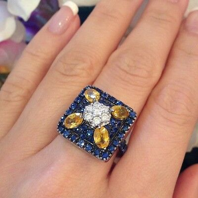 £1379.56 • Buy Blue And Yellow Sapphire And Diamond Cocktail Ring In 18k  - HM910S2