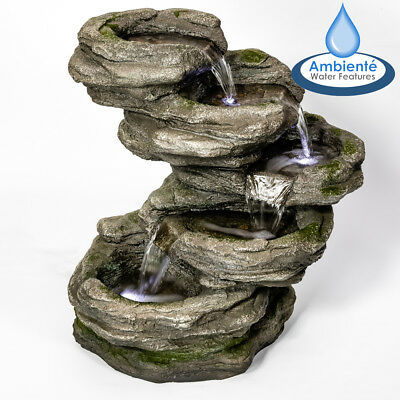 5 Step Rock Effect Cascading Water Feature White Lights Stone Pool Indoor Garden • 117.99£
