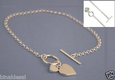 7.5  925 Sterling Silver Double HEART CHARM TOGGLE T-BAR BELCHER Chain BRACELET • 16.99£