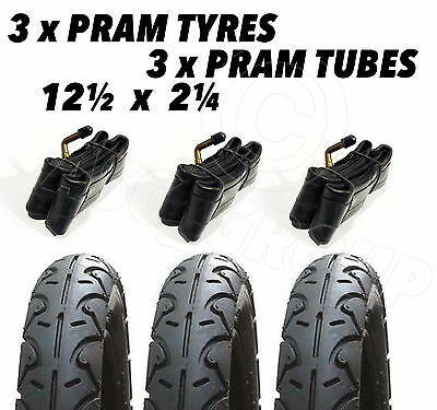 3 X Pram Tyres & 3x Tubes 12 1/2 X 2 1/4 Cosatto Mobi I'coo Mutsy Babystyle Lux • 36.95£