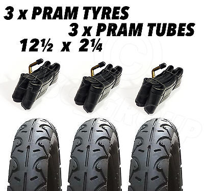 3x Pram Tyres & 3x Tubes 12 1/2 X 2 1/4 Slick Out 'n' About Nipper Motercare MY4 • 36.95£
