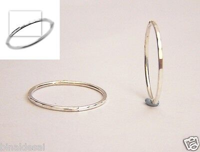 925 Sterling Silver 14mm Faceted Small Hinged Hoop Sleepers Earrings X'mas GIFT • 8.20£