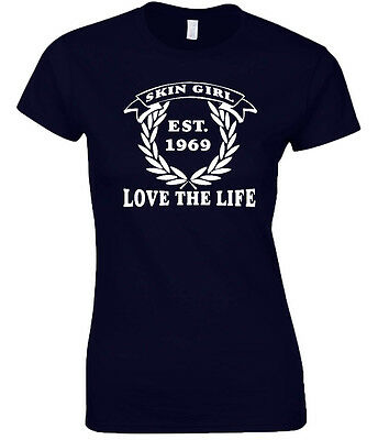 Skin Girl T-Shirt Ladies Love The Life Original Design Skinhead Skingirl Est. 69 • 12.99£